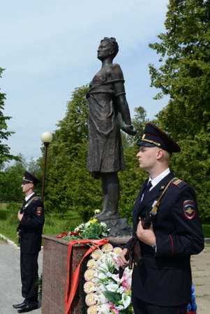 Police officers in honor of the guard at the monument to Zoya Kosmodemyanskaya. Editorial