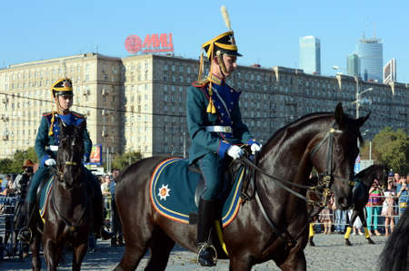 The cavalry honorary escort of the Presidential Regiment and the Kremlin Riding School on Poklonnaya Hill.