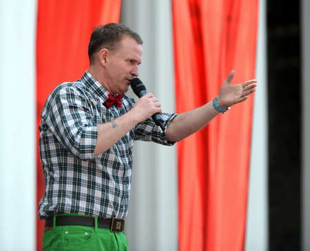 The famous Russian singer, soloist of the band Dune Viktor Rybin speaking at a free concert in honor of the Victory Day.