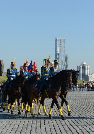 The cavalry honorary escort of the Presidential Regiment and the Kremlin Riding School on Poklonnaya Hill.
