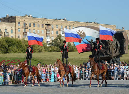 Demonstrative performance by the Kremlin Riding School on Poklonnaya Hill in honor of the Russian Flag holiday.