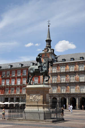 Equestrian statue of King Philip III at the Plaza Mayor in Madrid.