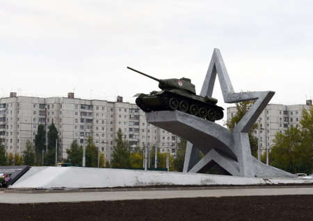 Monument in honor of the formation of the first tank corps.