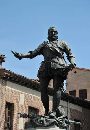 Bronze Statue Don Alvaro de Bazan, Famous Admiral, Plaza de la Villa, Madrid Spain. Statue in front of the Casa de Cisneros, created in 1891 by sculptor Mariano Benlliure.