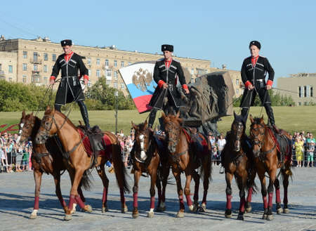 Demonstrative performance by the Kremlin Riding School on Poklonnaya Hill in honor of the Russian Flag holiday. Reklamní fotografie - 89299737