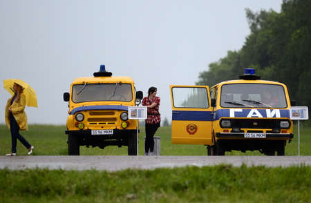 The old Soviet cars in the traffic police in the Borodino field.