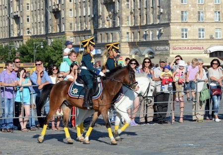 Demonstrative performance of the Kremlin school of riding on the Poklonnaya Hill of Moscow. Reklamní fotografie - 89801941