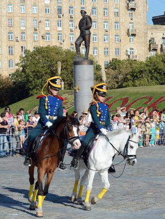 Demonstrative performance of the Kremlin school of riding on the Poklonnaya Hill of Moscow. Redakční