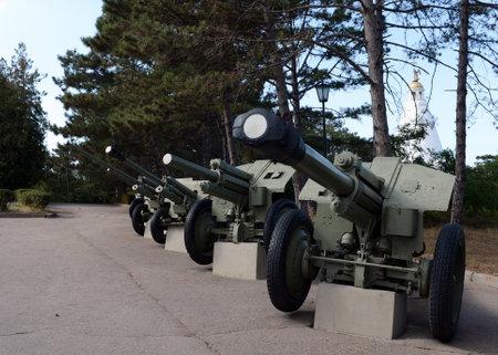 Artillery guns on Sapun Mountain in Sevastopol. Editorial