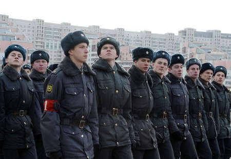 Cadets of the Moscow College of Police are preparing for the parade on November 7 in Red Square. Editorial