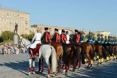 Demonstrative performance of the Kremlin school of riding and cavalry of the Presidential Regiment on Poklonnaya Hill in Moscow.