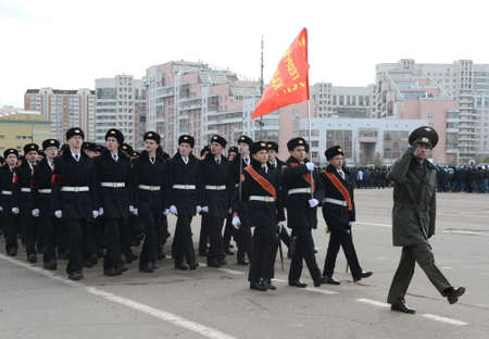 Cadets of the Moscow St. Petersburg George Cadet Corps are preparing for the parade on November 7 on Red Square.