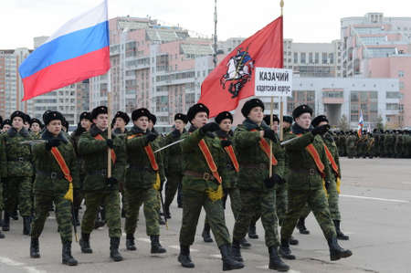 Cadets of the Moscow Cossack Cadet Corps are preparing for the parade on November 7 on Red Square. Editorial