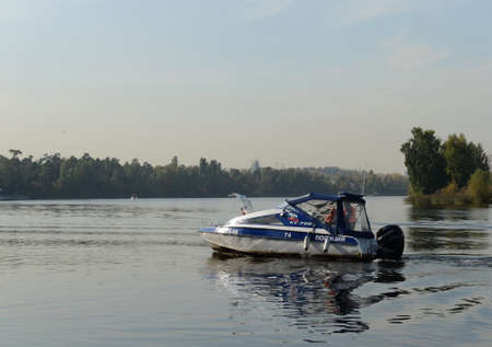 Police boat KS-700 on the Moscow River in the Serebryany Bor.