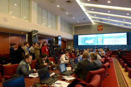 Journalists in the Central Election Commission of the Russian Federation.