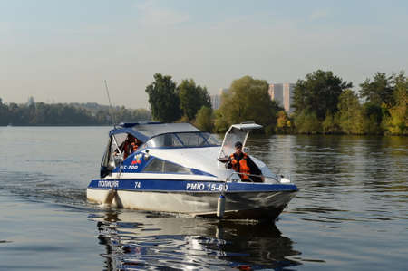 Police boat KS-700 on the Moscow River in the Serebryany Bor.