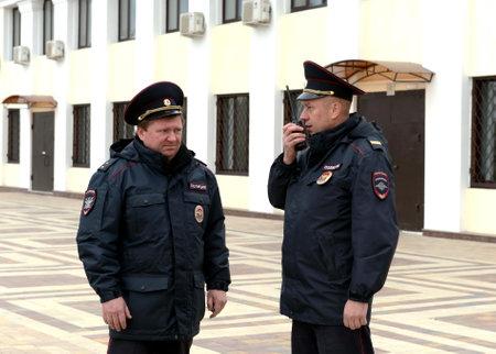Policemen on the platform apron in Tula. Editorial