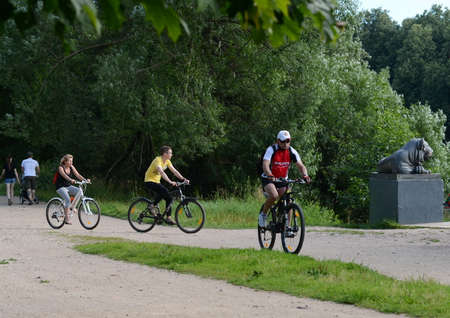 Cyclists in the natural-historical park Kuzminki-Lublino. Editorial