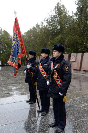 Police officers at the obelisk of Glory on Sapun Mountain in Sevastopol.