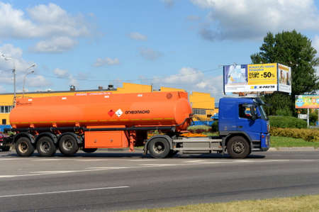 Petrol tanker on the Olympic Avenue in Mytishchi. Editorial