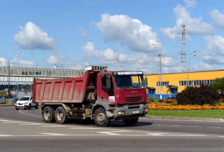 Dump truck on the Olympic Avenue in Mytishchi.
