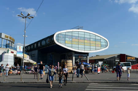 An elevated pedestrian crossing at Mytischi Station, Moscow Region. Editorial