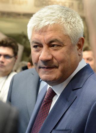 Minister of the Interior of the Russian Federation Vladimir Kolokoltsev at the international exhibition Interpolitex