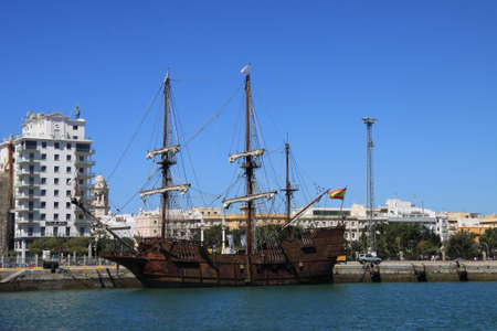 Galleon in the seaport of the ancient city of Cadiz.