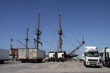 Trucks in the seaport of Cadiz. Editorial