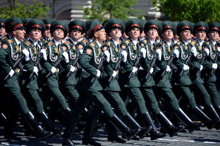 Cadets Saratov Military Institute of National Guard at a parade on a square in honor of Victory day.