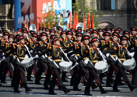 Drummers of the Moscow military music school during the parade dedicated to Victory day.