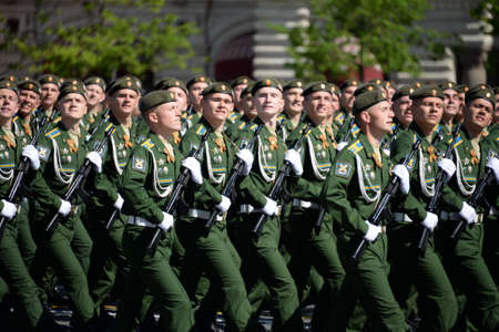 Cadets of the Military Space Academy named after AF Mozhaisky during the parade, dedicated to the Victory Day on Red Square.