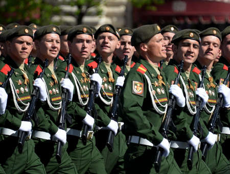 Soldiers of a separate guards motorized rifle Sevastopol brigade during the parade on Red Square in honor of the Victory Day.