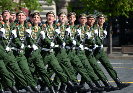 Soldiers of the 2nd Guards Motorized Rifle Taman Division during the parade on Red Square in honor of the Victory Day. Editorial