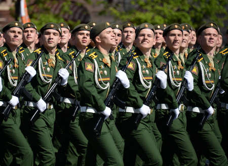 Cadets of the military academy of strategic Missile Forces named after Peter the Great on the parade in honor of the Victory Day.