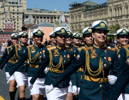 Female cadets during the parade on Red Square in honor of Victory Day.