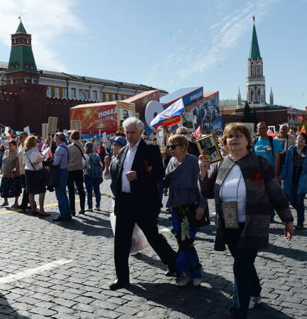 People on the action Immortal Regiment in memory of the relatives who died in the war. Editorial