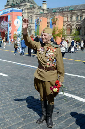 Veteran of the Great Patriotic War Yevgeny Shalashnikov on Red Square during the celebration of the Victory Day on Red Square in Moscow.
