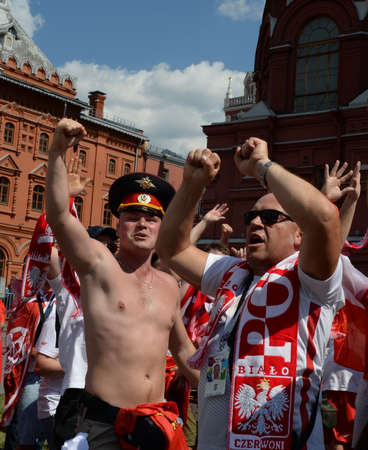 Polish football fans at the Manezhnaya Square during the World Cup. FIFA world cup, Mundial 2018. Editorial