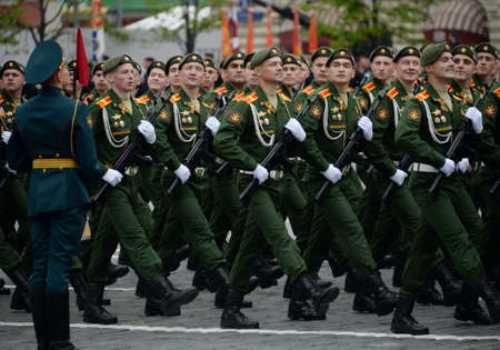 Cadets of the military logistics academy named after General Khrulev at the dress rehearsal for the Victory Day parade. 新聞圖片