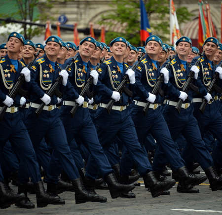 Cadets of the Air Force Academy during the dress rehearsal of the parade on Red Square in honor of Victory Day.