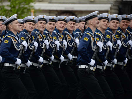 Cadets of the Baltic Naval Institute named after Fedor Ushakov during the dress rehearsal of the parade on Red Square.