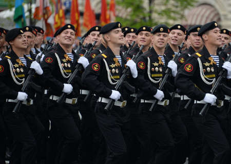 Marines of the 336th Guards Bialystok Brigade of the Baltic Fleet during the dress rehearsal of the parade on Red Square.