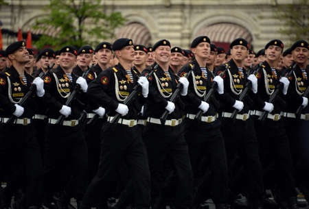 Marines of the Kirkenes brigade of the marine fleet during the rehearsal of the parade. 新聞圖片
