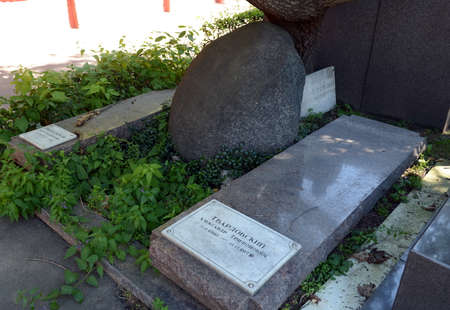 The grave of the Soviet poet Alexander Tvardovsky at the Novodevichy Cemetery in Moscow.