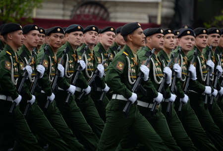 Servicemen of the 4th Guards Tank Division of Kantemirov during the dress rehearsal of the parade on Red Square.
