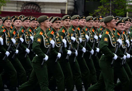 Cadets of the Moscow Higher Military Command School at the dress rehearsal for the Victory Day parade on Red Square.