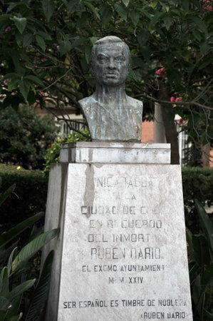 Bust to the poet Ruben Dario in the city park of Cadiz.