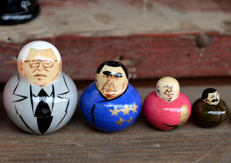Nested dolls depicting Soviet rulers on the counter of souvenirs in Moscow.