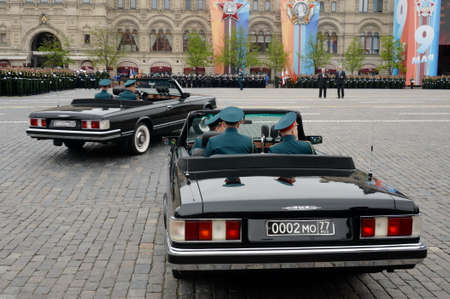Government limousines ZIL-115V at the rehearsal of the Victory Parade on Red Square.